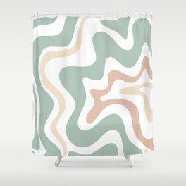 Liquid Swirl Abstract Pattern in Celadon Sage Shower Curtain
