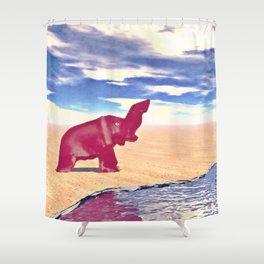Desert Elephant Quest For Water Shower Curtain
