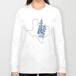 texas // watercolor bluebonnet state flower map Long Sleeve T-shirt