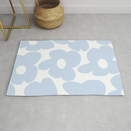 Large Baby Blue Retro Flowers White Background #decor #society6 #buyart Rug