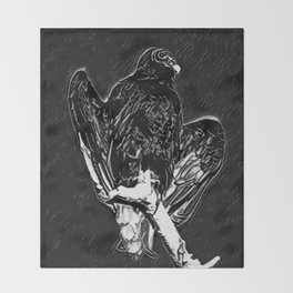 Vulture with Black Rain Background Series Vector 2 Throw Blanket