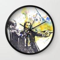 pulp fiction Wall Clocks featuring Pulp Fiction by idillard