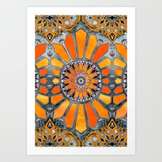 Celebrating the 70's - tangerine orange watercolor on grey Art Print