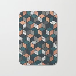 Copper, Marble and Concrete Cubes with Blue Bath Mat