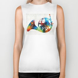 Colorful French Horn - Color Fusion By Sharon Cummings Biker Tank