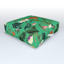 Vintage wild flowers green Outdoor Floor Cushion
