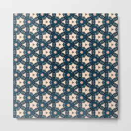 Geometrical Dark Blue delicate Flower design Metal Print