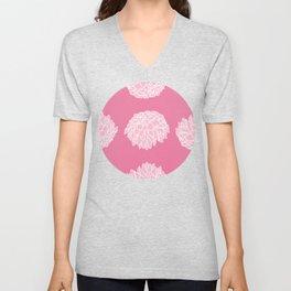 Pink Dalhia Pattern Unisex V-Neck