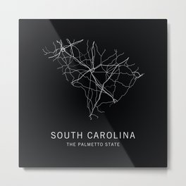 South Carolina State Road Map Metal Print
