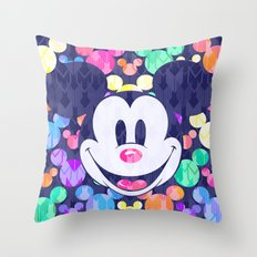 Mickey Mouse Head on Arrows Throw Pillow