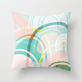 Somewhere - mint & peach Throw Pillow