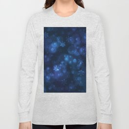 Blue Snowflakes Winter Christmas Pattern Long Sleeve T-shirt