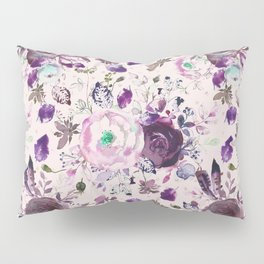 Country chic pink lavender violet watercolor floral Pillow Sham
