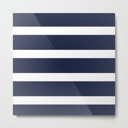 Navy Summer Stripes Metal Print