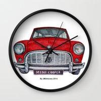 mini cooper Wall Clocks featuring Mini Cooper by Jorge Antunes
