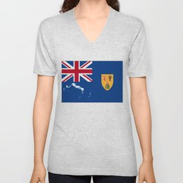 Turks and Caicos Islands TCI Flag with Island Maps Unisex V-Neck