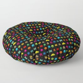 Invaders of Space retro arcade video game pattern design Floor Pillow