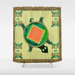Native American Folk Art Turtle Shower Curtain
