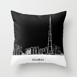 Dubai Skyline - Black Base Throw Pillow