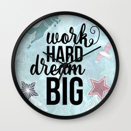 Work Hard Dream Big - Space Fox Hustle Wall Clock