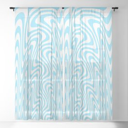 Cyan Squiggles Sheer Curtain