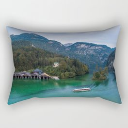 königssee waterfall alps bayern forrest drone aerial shot nature wanderlust boat mountains Rectangular Pillow