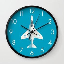 F4 Phantom Jet Fighter Aircraft - Cyan Wall Clock