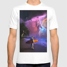 Space Surfer White Mens Fitted Tee MEDIUM