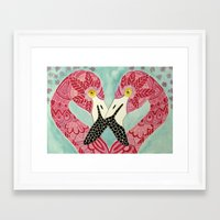flamingos Framed Art Prints featuring Flamingos  by ArtLovePassion