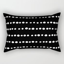 Spotted, Mudcloth, Black and White, Boho Print Rectangular Pillow