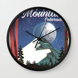 Colorado travel poster Copper Mountain Wall Clock