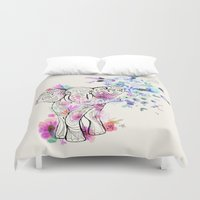 ornate elephant Duvet Covers featuring Playful Elephant by Crystal Walen