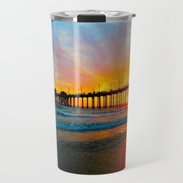 Sunset Huntington Beach Pier   Travel Mug