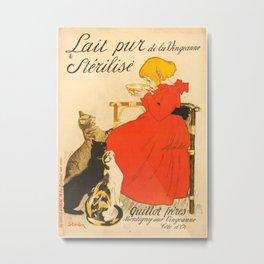 """Théophile Steinlen """"Lait Pur de la Vingeanne Stérilisé"""" Metal Print"""