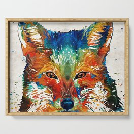 Colorful Fox Art - Foxi - By Sharon Cummings Serving Tray