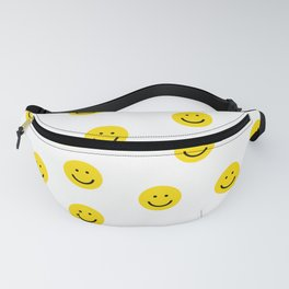 Smiley faces white yellow happy simple smiley pattern smile face kids nursery boys girls decor Fanny Pack