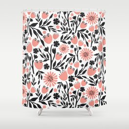 Floral Pattern Dark Gray and Light Coral Shower Curtain