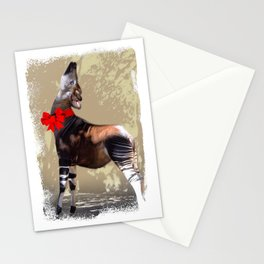 Okapi  with Red Bow Stationery Cards
