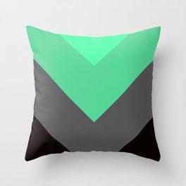 Mint Green Gray Chevron Stripes Throw Pillow