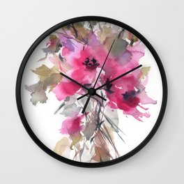 Red Water Blooms Wall Clock