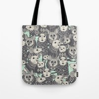sweater Tote Bags featuring sweater mice mint by Sharon Turner