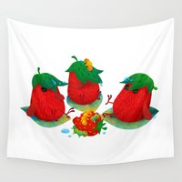 strawberry Wall Tapestries featuring Strawberry by DanBee Kim