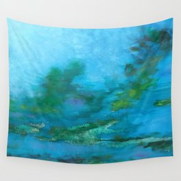 Light Blue Monet´s Theme of Waterlilies Wall Tapestry