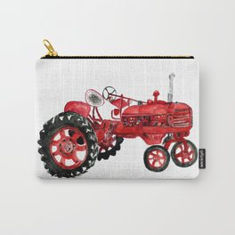 Watercolor old farming red tractor Carry-All Pouch