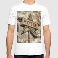 Vntage Grunge Star Motel Sign Mens Fitted Tee White LARGE