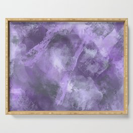 Stormy Abstract Art in Purple and Gray Serving Tray