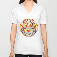 glitch V-neck T-shirts featuring Everything is Fine by Anai Greog