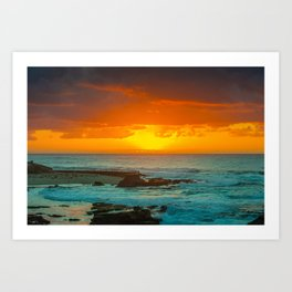 Sunset over childrens pool Art Print