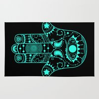 hamsa Area & Throw Rugs featuring Hamsa by Erin Leigh Hotchkiss
