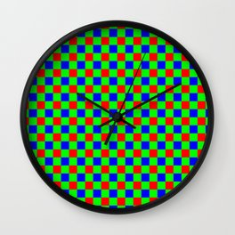 Check Pattern Red, Green, Blue Wall Clock